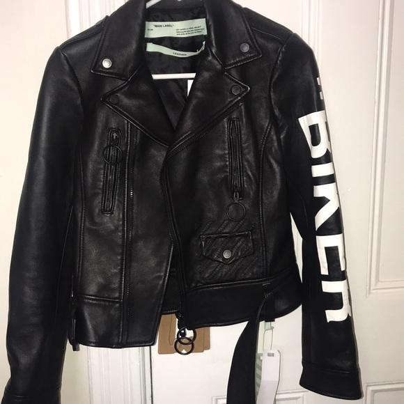 big selection enjoy complimentary shipping large assortment OFF-WHITE LADIES LEATHER BIKER JACKET NWT